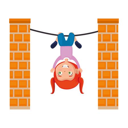 little girl hanging in rope character vector illustration design