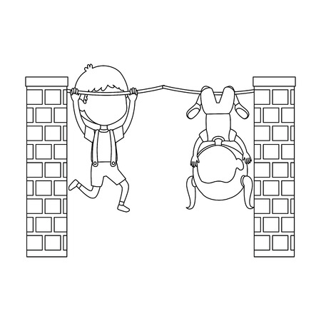 little kids couple hanging in the rope characters vector illustration design