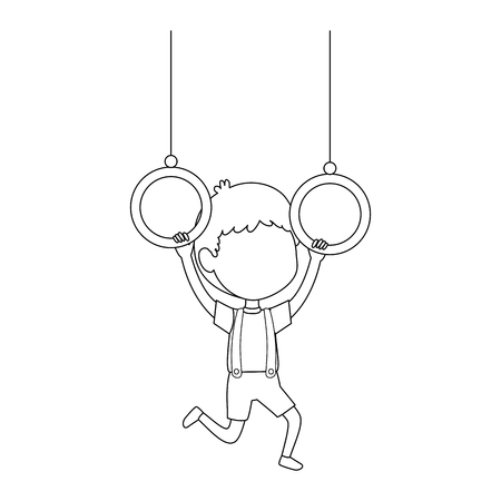 little boy hanging in rings character vector illustration design Illustration