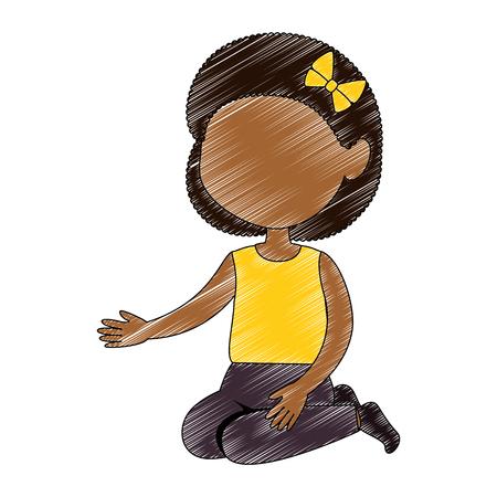 little girl black character vector illustration design Иллюстрация