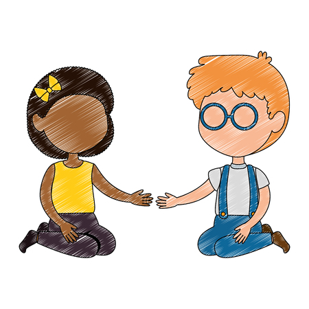 little boy and black girl couple characters vector illustration design