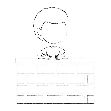 little boy in the wall character vector illustration design