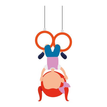 little girl hanging in the rings character vector illustration design