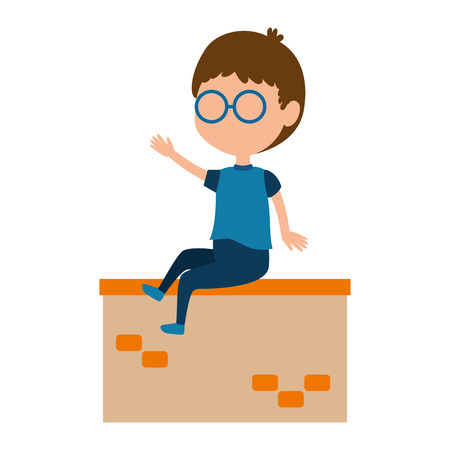 little boy in the wall character vector illustration design Stock Vector - 102263044