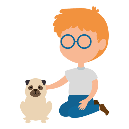 little boy with dog character vector illustration design