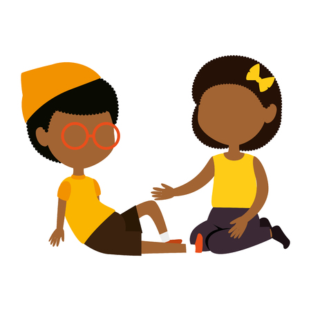 little black kids couple characters vector illustration design