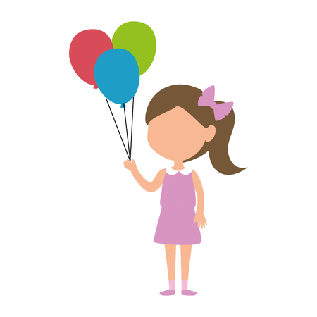 little girl with balloons helium character vector illustration design