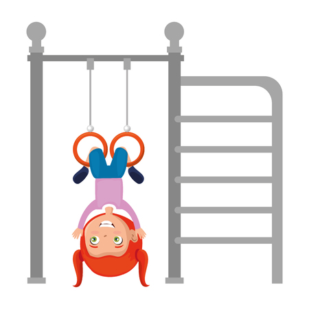 girl playing in park playground rings hanging vector illustration design Banque d'images - 102264401