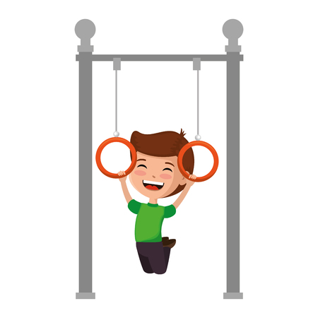 boy playing in park playground rings hanging vector illustration design