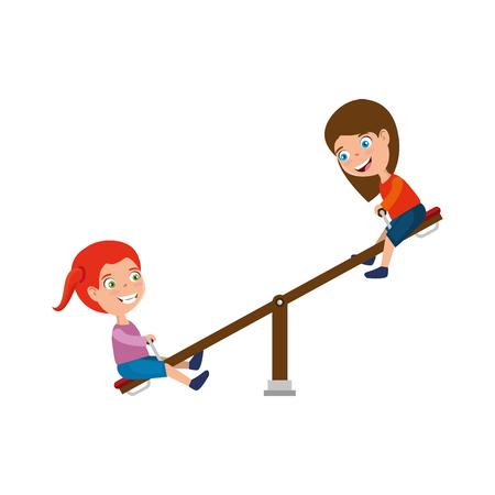 dziewczyny bawiące się w górę iw dół park zabaw dla dzieci ilustracji wektorowych projektowania