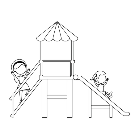 girl playing in tower and slide vector illustration design
