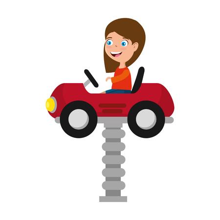 little girl in cart toy with springvector illustration design Ilustração