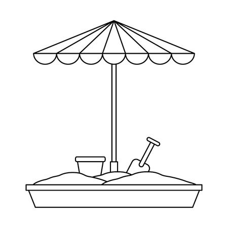 sand game park with umbrella vector illustration design