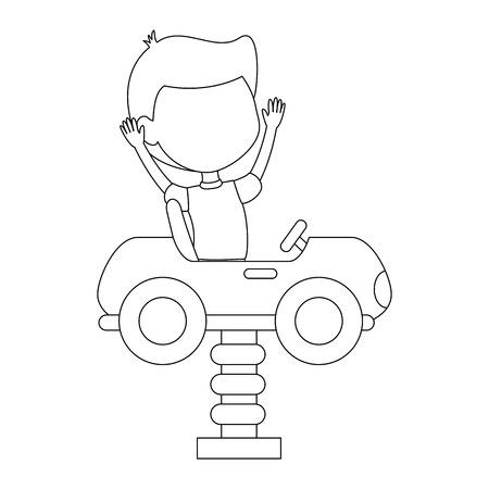 little boy in cart toy with spring vector illustration design Foto de archivo - 102263129