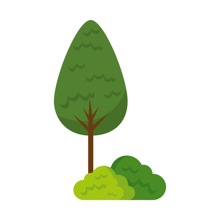 tree plant and bush forest vector illustration design