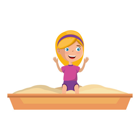 girl playing in sand game park icon vector illustration design