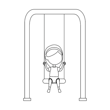 girl playing in swing park playground hanging vector illustration design 스톡 콘텐츠 - 102264496