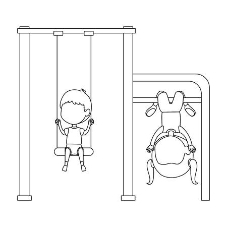 kids playing in swing park playground hanging vector illustration design 일러스트