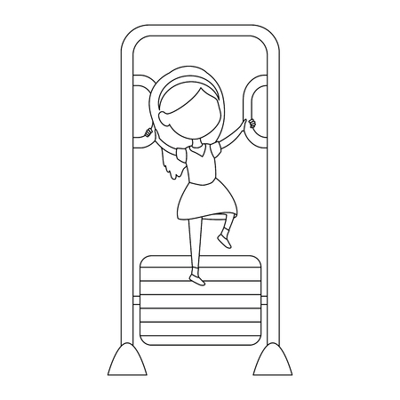 girl playing in park playground bars vector illustration design Illusztráció
