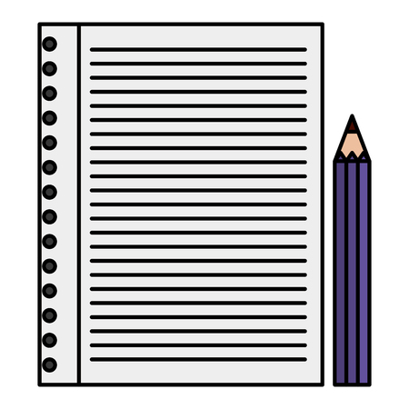 paper sheet with color pencil vector illustration design