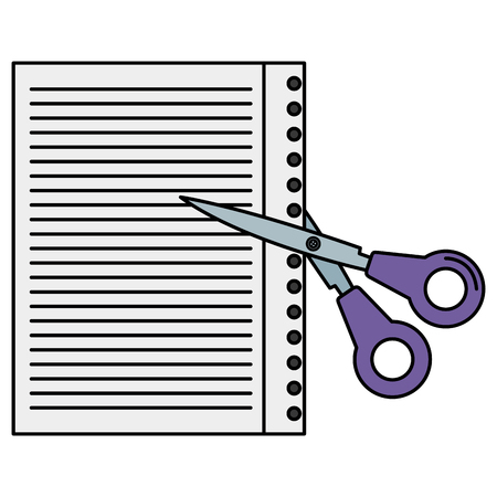 scissors school with paper sheet vector illustration design