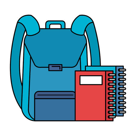 school bag with notebook vector illustration design Illustration