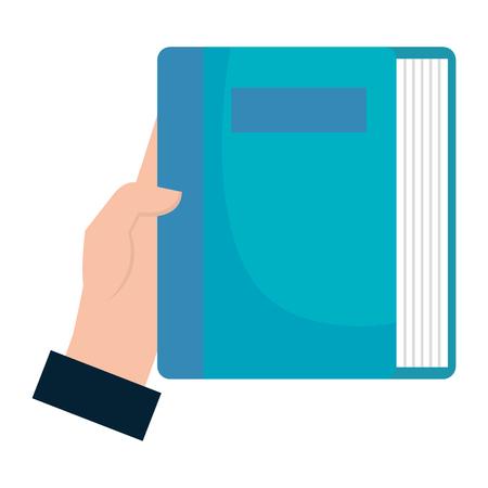 hands with book school vector illustration design