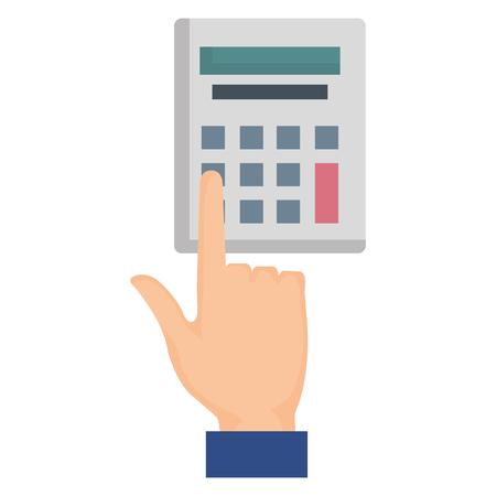 hand using calculator device vector illustration design