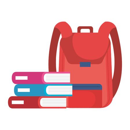 school bag with books vector illustration design Illustration