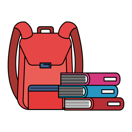 school bag with books vector illustration design Illustration