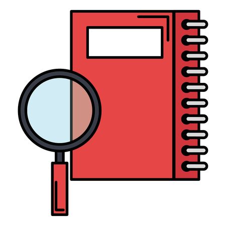 notebook with magnifying glass vector illustration design