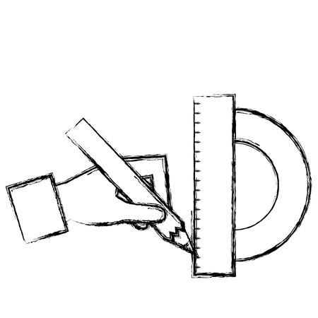 hand with geometric rule school icon vector illustration design