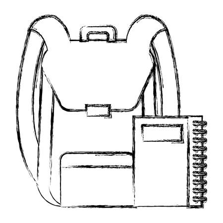 school bag with notebook vector illustration design Vettoriali