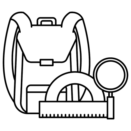 school bag with magnifying and protractor vector illustration design Vettoriali