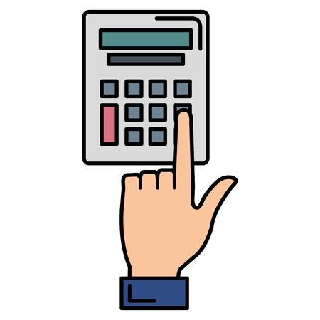 hand using calculator device vector illustration design Illustration