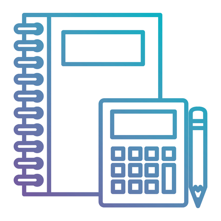 notebooks school with calculator and pencil vector illustration design