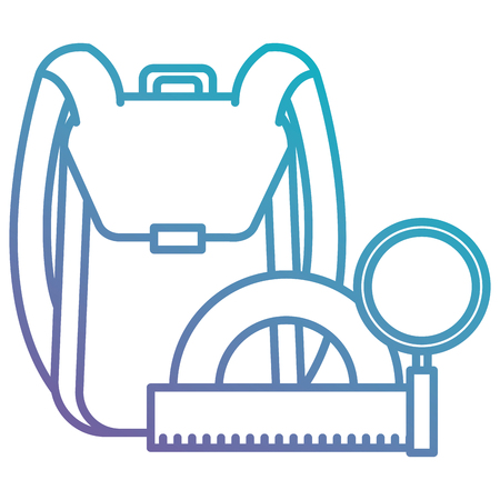 school bag with magnifying and protractor vector illustration design Illustration