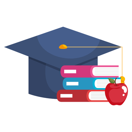 books school pile with graduation hat and apple vector illustration design