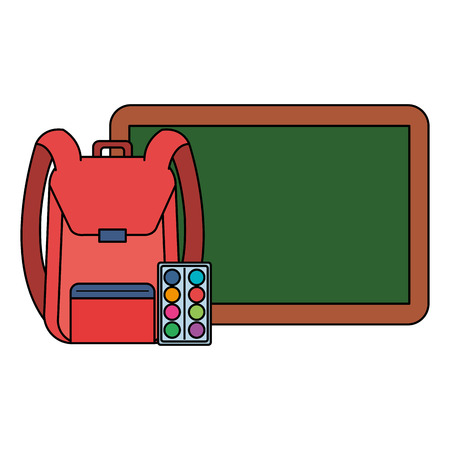chalkboard with school bag and paint pallette vector illustration design