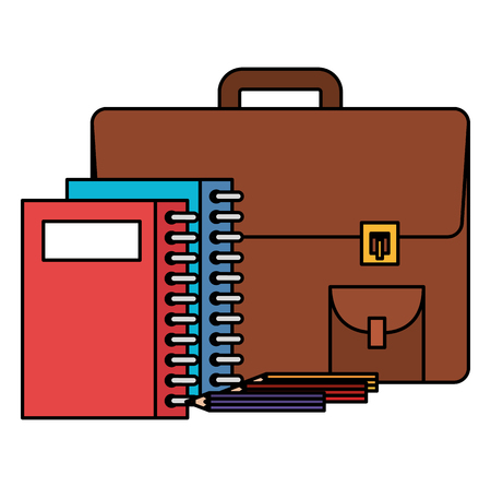 portfolio school with notebooks and pencils vector illustration design