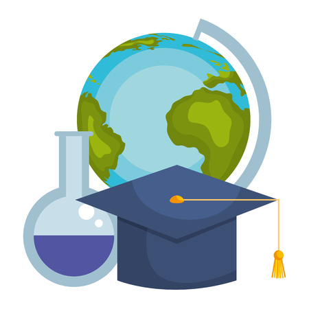 world planet earth with graduation hat and tube test vector illustration design