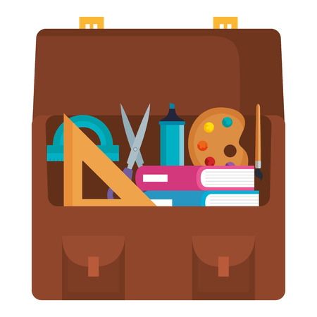 portfolio with school supplies vector illustration design