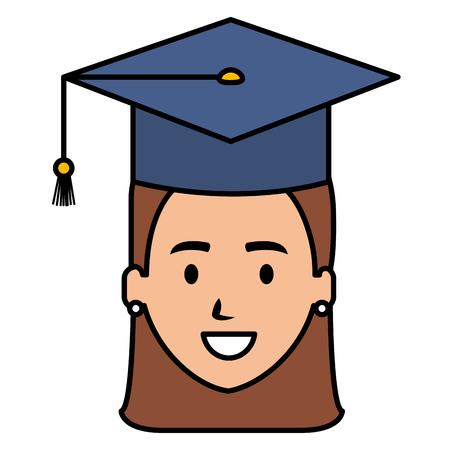 woman student graduating with uniform vector illustration design