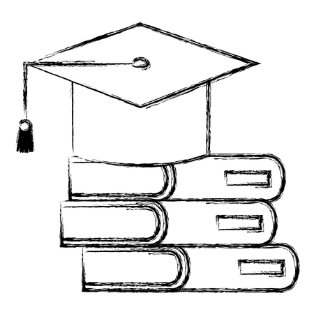 books school pile with hat graduation vector illustration design