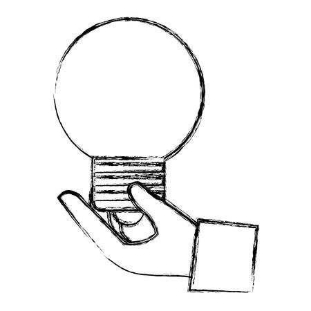 hand lifting bulb light vector illustration design Illustration