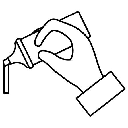 hand with highlighter pen school supply vector illustration design