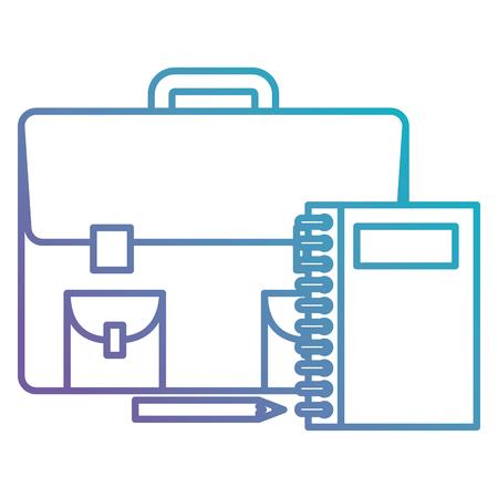 portfolio school with notebooks and pencils vector illustration design Standard-Bild - 102288037