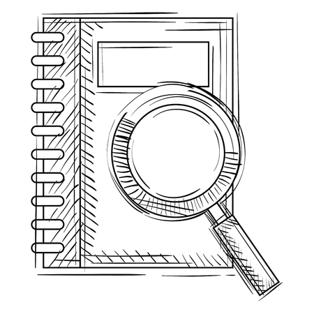 notebook with magnifying glass vector illustration design Stock Vector - 102331545