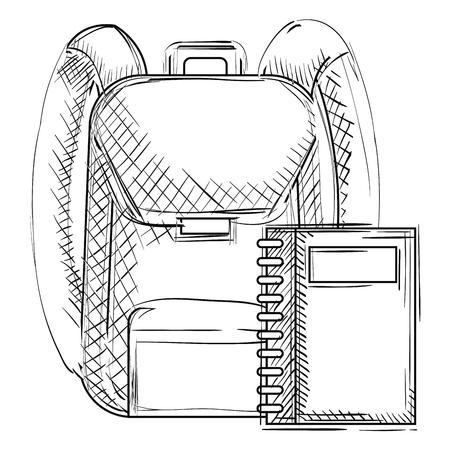 school bag with notebook vector illustration design  イラスト・ベクター素材