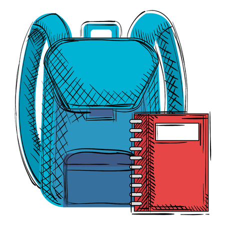 school bag with notebook vector illustration design Foto de archivo - 102331431